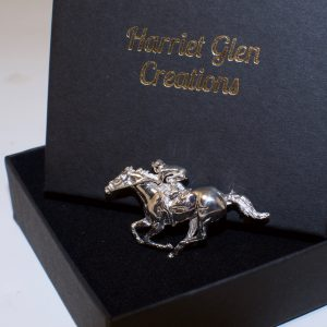 Silver racehorse brooch
